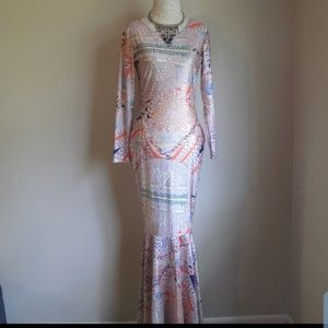 70s Style Psychedelic Fishtail Gown REPOSH